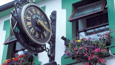 guinness clock and flowers