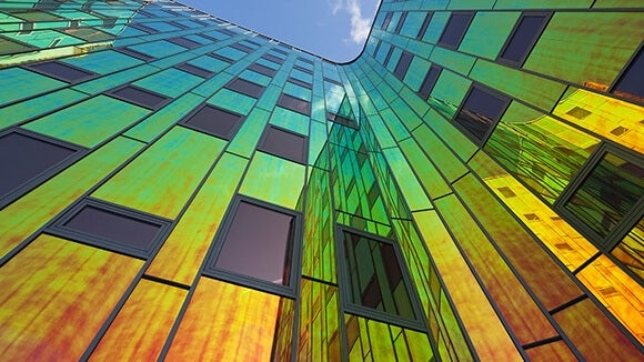 coloured glass building