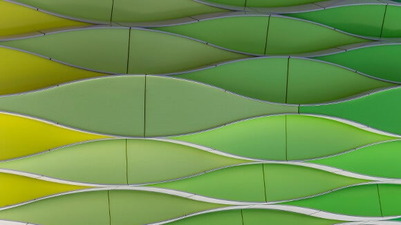 green wavy abstract wall
